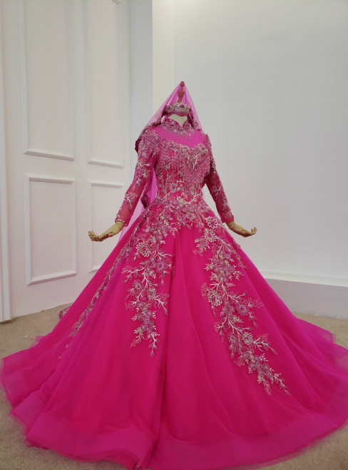 Fuchsia Ball Gown High Neck Long Sleeve Embroidery Appliques Wedding Dress