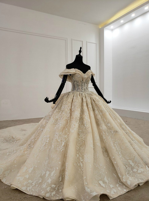Champagne Ball Gown Tulle Sequins Appliques Beading Off the Shoulder Wedding Dress