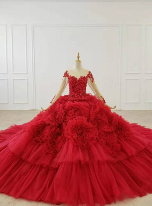 Red Ball Gown Tulle Long Sleeve Appliques Beading Wedding Dress With Train