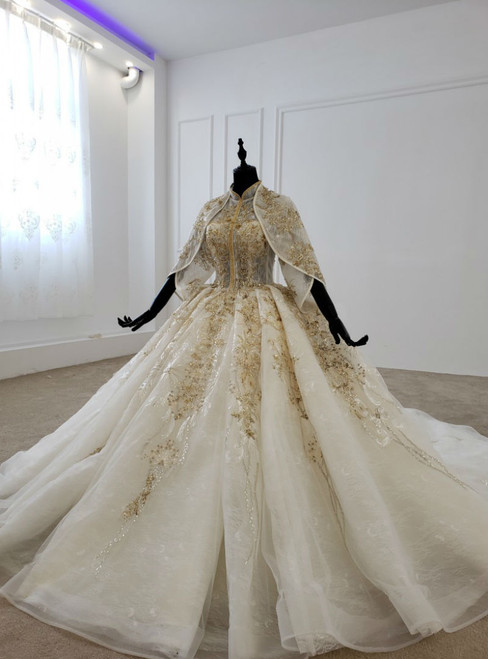 Champagne Ball Gown Tulle Appliques High Neck Short Sleeve Wedding Dress