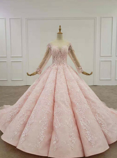 Pink Ball Gown Tulle Lace Appliques Long Sleeve Beading Wedding Dress