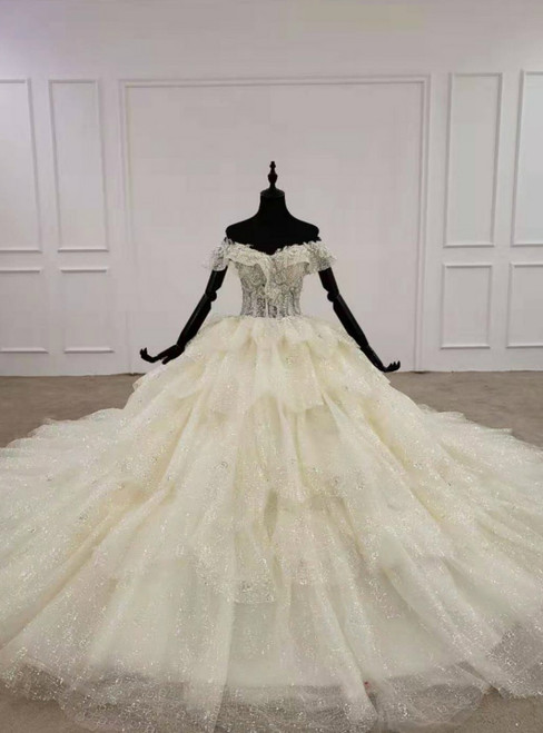 Exquisite Champagne Ball Gown Tulle Sequins Off the Shoulder Appliques Wedding Dress