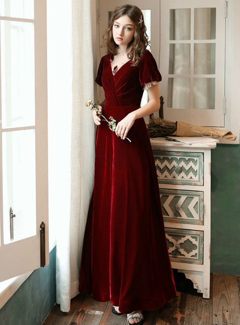 A-Line Burgundy Short Sleeve Long Formal Prom Dress
