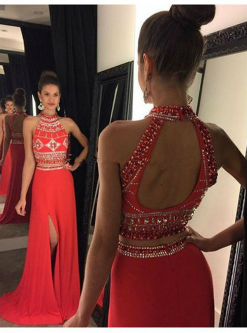 Halter Red Beaded 2 Pieces Backless Chiffon Prom Dress