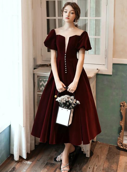 A-Line Burgundy See Through Puff Short Sleeve Short Prom Dress