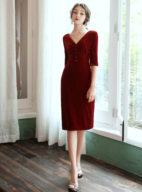 Sexy Burgundy Velvet V-neck Short Sleeve Knee Length Short Prom Dress 2020