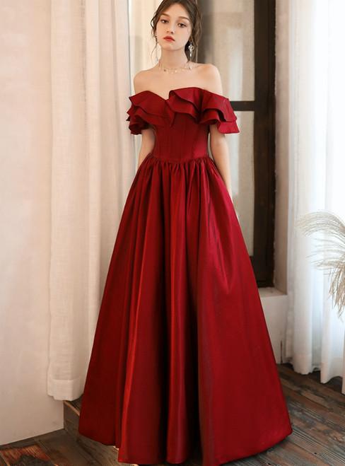 A-Line Burgundy Satin Off the Shoulder Ruffles Long Prom Dress 2020