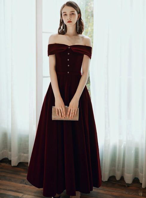 A-Line Burgundy Velvet Off the Shoulder Ankle Length Prom Dress 2020