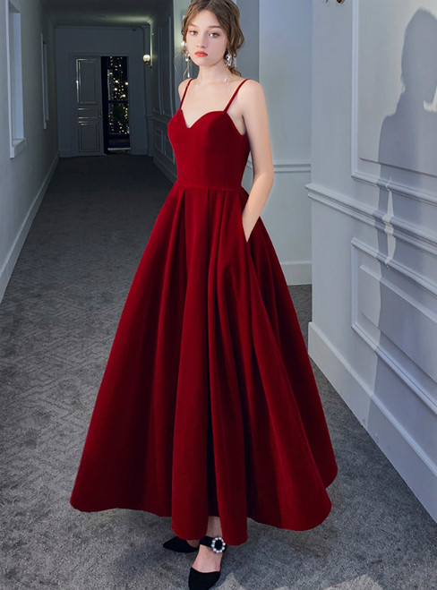 A-Line Burgundy Spagehtti Straps Ankle Length Prom Dress