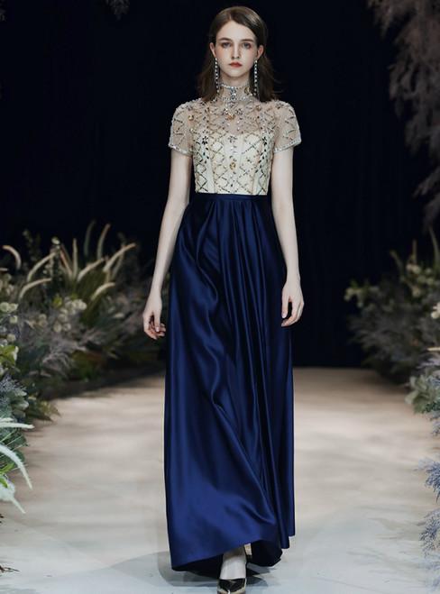 A-Line Blue Satin Short Sleeve High Neck Backless Prom Dress 2020