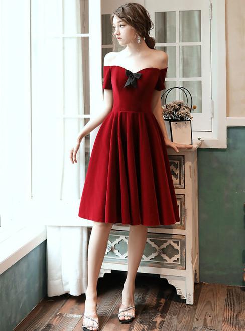 A-Line Burgundy Off the Shoulder Short Sleeve Knee Length Prom Dress