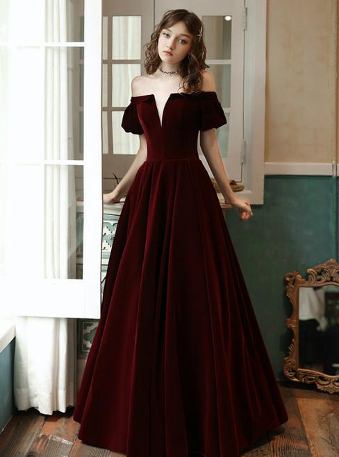 A-Line Burgundy Velvet Off the Shoulder Long Prom Dress With Pocket 2020