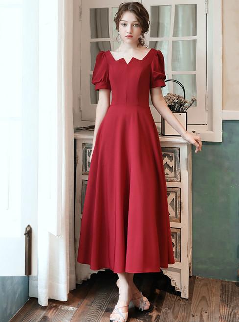 A-line Burgundy Satin Square Short Sleeve Tea Length Prom Dress 2020