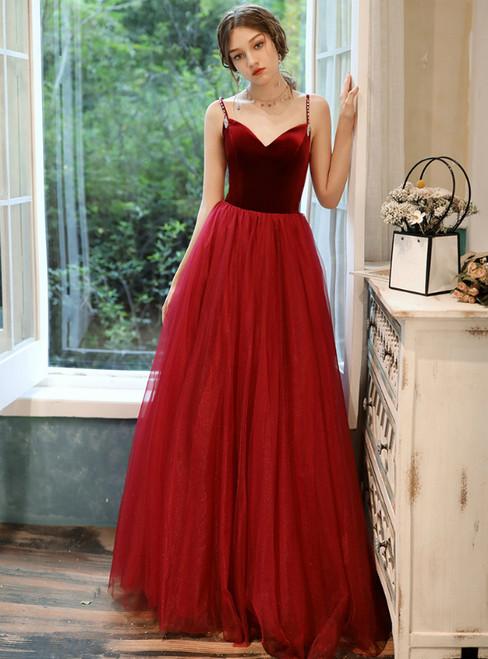 A-Line Burgundy Velvet Tulle Spagehtti Straps Beading Prom Dress 2020