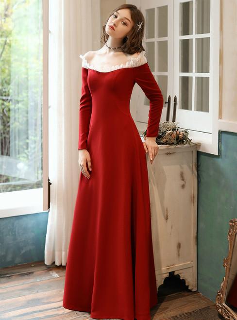 Burgundy Satin Off the Shoulder Long Sleeve Prom Dress 2020