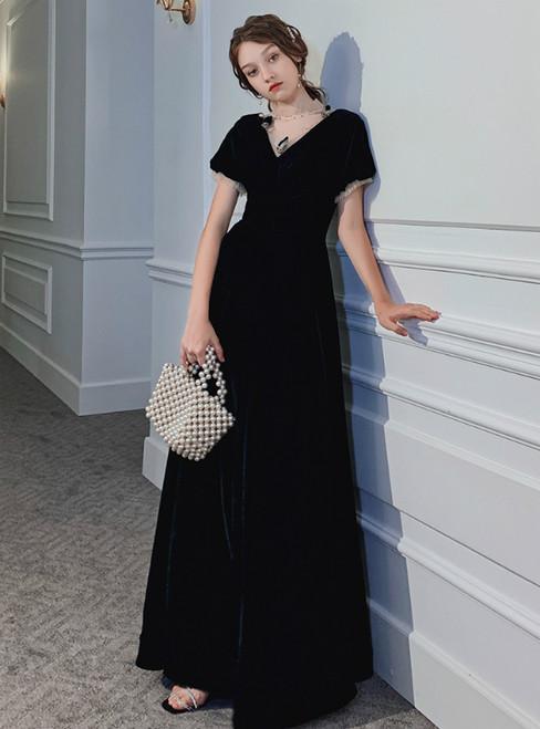 A-Line A-Line Black Short Sleeve Long Formal Prom Dress