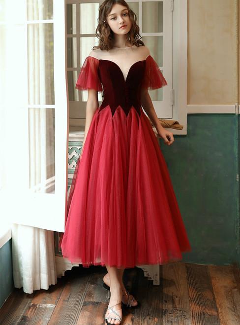 Burgundy Tulle Velvet See Through V-neck Tea Length Prom Dress 2020
