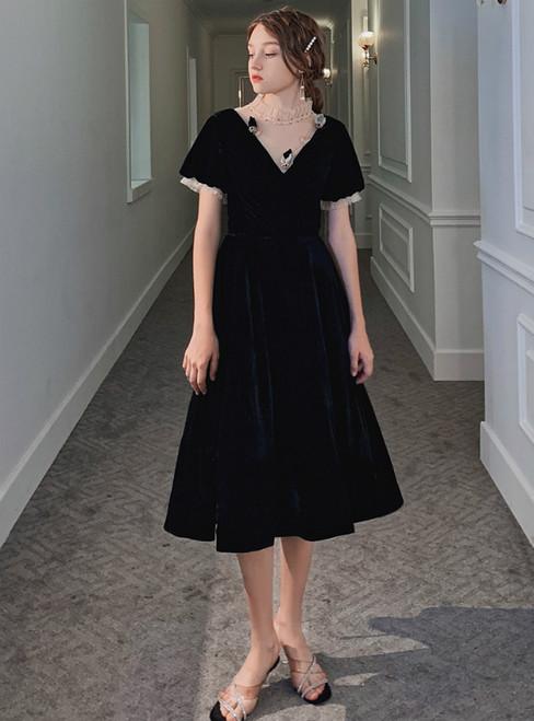 A-Line A-Line Black Short Sleeve Short Formal Prom Dress