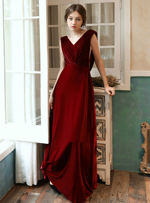 A-Line Burgundy Velvet V-neck Backless Long Prom Dress 2020