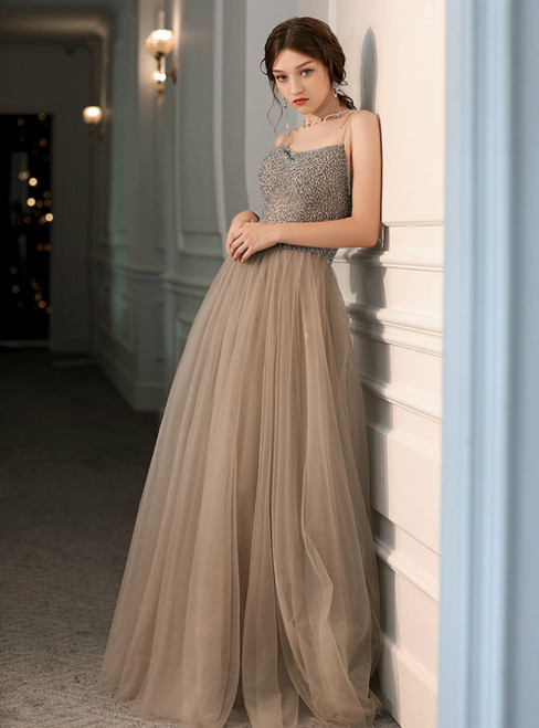 A-Line Champagne Tulle Spagehtti Straps Beading Prom Dress 2020