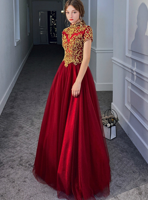 A-Line Burgundy Tulle Cap Sleeve Backless Beading Prom Dress 2020
