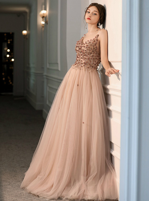 A-Line Pink Tulle Spaghetti Straps Appliques Beading Prom Dress 2020