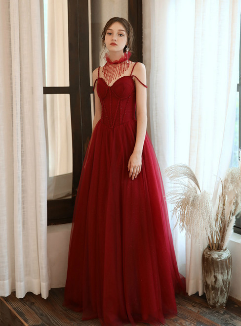 Burgundy Tulle Sequins Spaghetti Straps Beading Prom Dress 2020