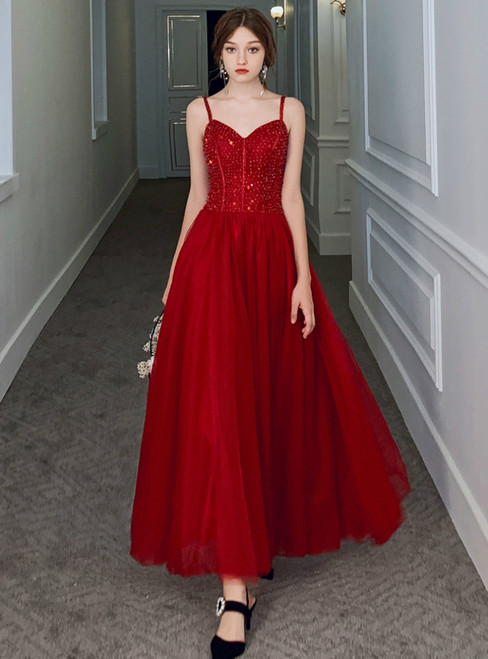 A-Line Burgundy Tulle Spagehtti Straps Beading Prom Dress 2020
