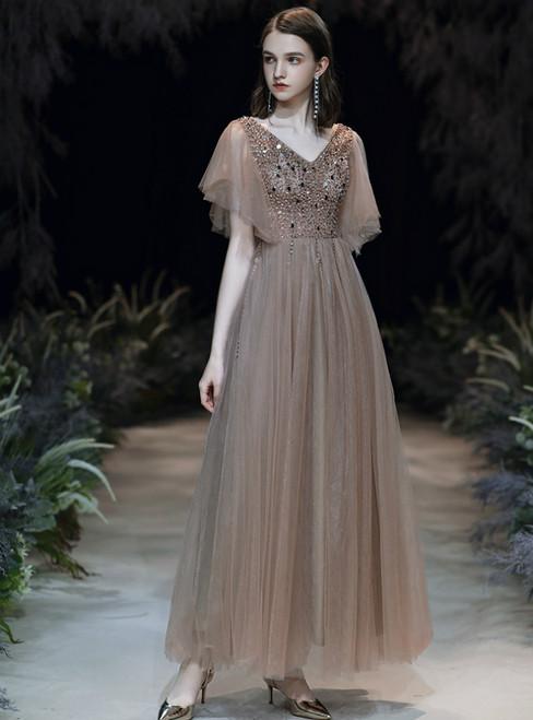 Dark Champagne Tulle V-neck Beading Sequins Prom Dress 2020