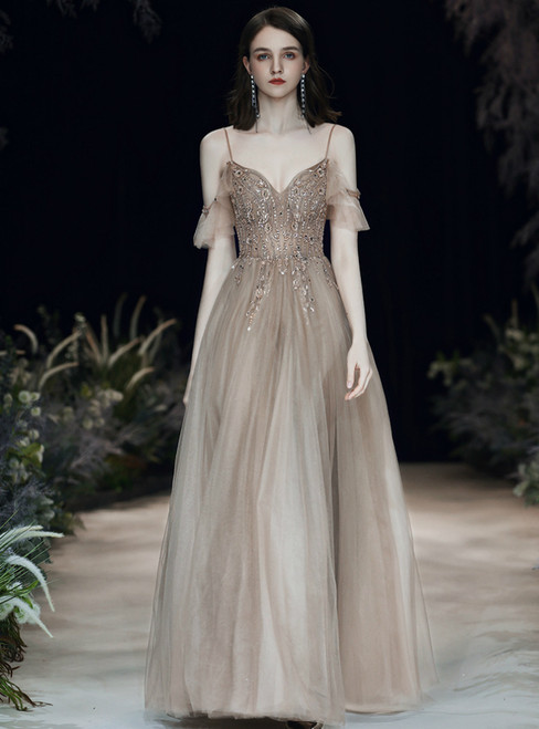 A-Line Champagne Tulle Spaghetti Straps Beading Seuqins Prom Dress 2020