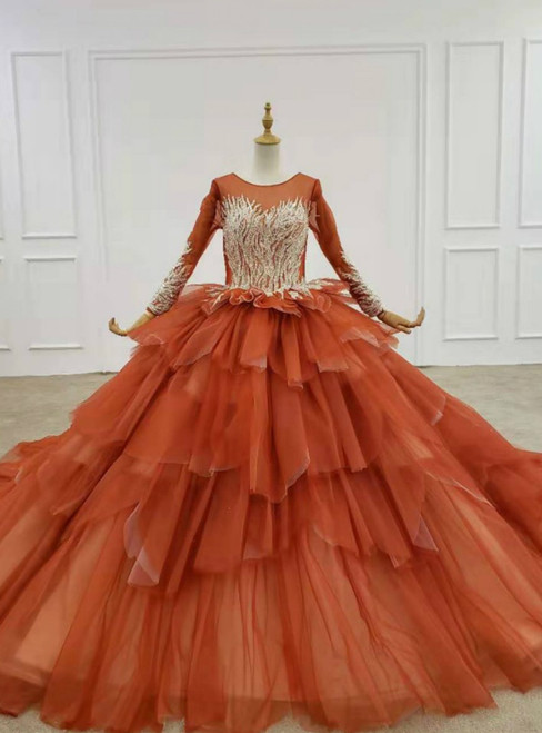 Red Ball Gown Tulle Beading Sequins Long Sleeve Wedding Dress 2020