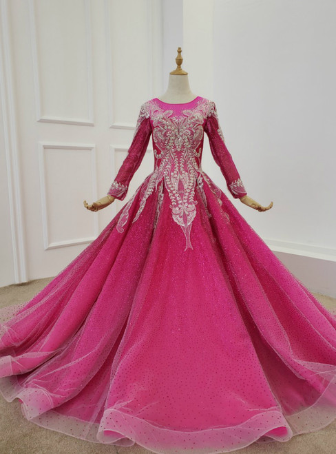 Fuchsia Ball Gown Sequins Long Sleeve Beading Wedding Dress 2020