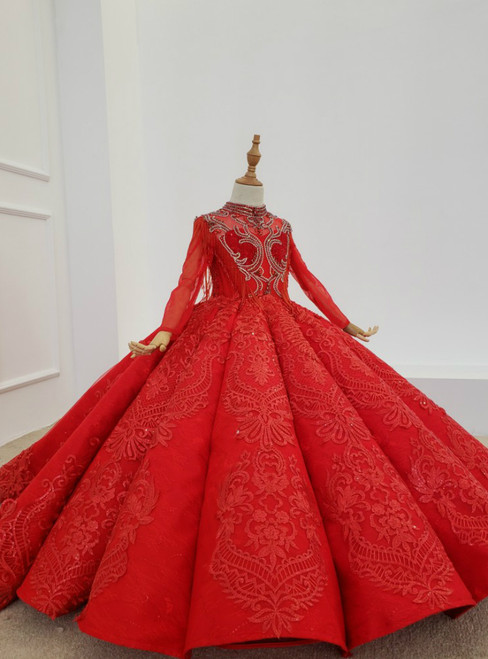 Red Ball Gown Lace Appliques Long Sleeve Beading High Neck Flower Girl Dress 2020