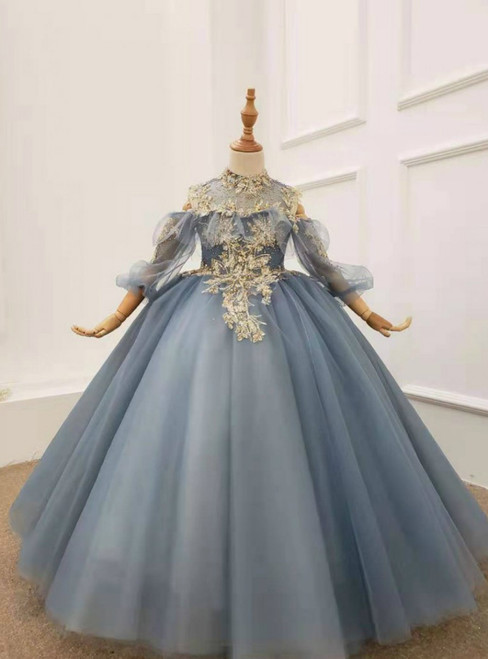 Blue Ball Gown Tulle Long Sleeve Backless High Neck Appliques Wedding Dress 2020