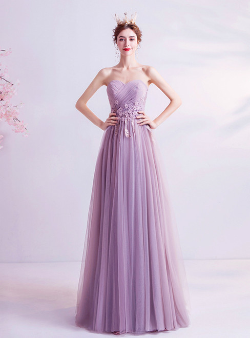 In Stock:Ship in 48 Hours Purple Tulle Sweetheart Appliques Prom Dress 2020