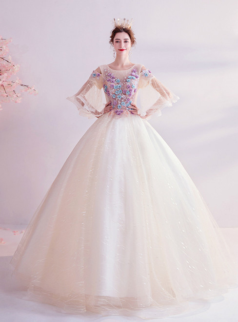 In Stock:Ship in 48 Hours Champagne Tulle Short Sleeve Appliques Beading Wedding Dress 2020