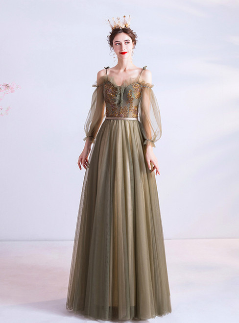 In Stock:Ship in 48 Hours Green Tulle Long Sleeve Spaghetti Straps Prom Dress