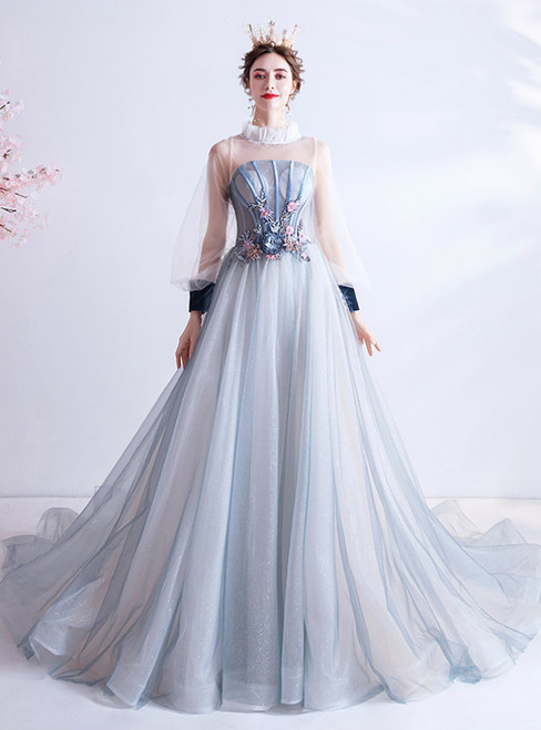 In Stock:Ship in 48 Hours Blue Tulle Long Sleeve Appliques Prom Dress