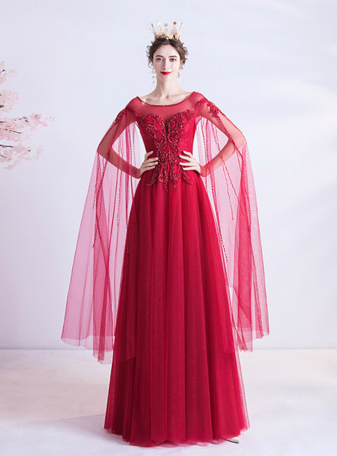In Stock:Ship in 48 Hours A-Line Red Tulle Beading Prom Dress