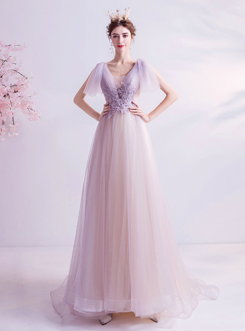 In Stock:Ship in 48 Hours Purple Tulle V-neck Beading Prom Dress