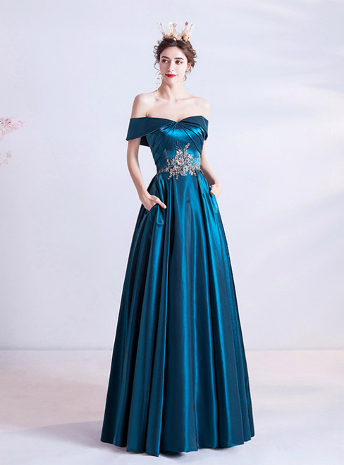 In Stock:Ship in 48 Hours Blue Satin Off the Shoulder Appliques Prom Dress