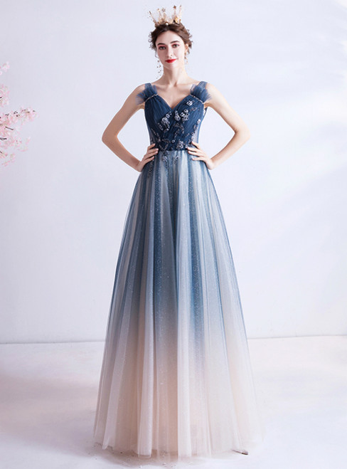 In Stock:Ship in 48 Hours Blue V-neck Tulle Beading Prom Dress 2020