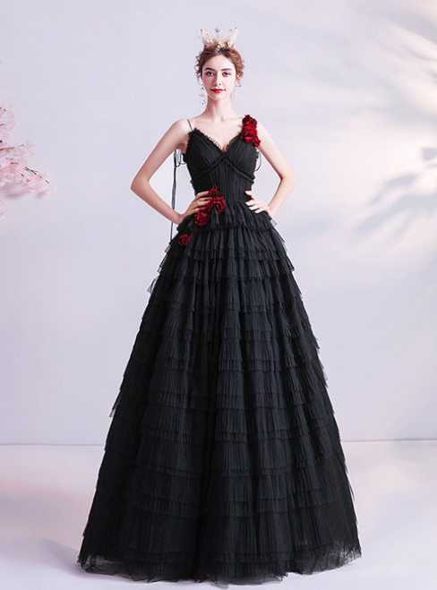 In Stock:Ship in 48 Hours Black Tulle V-neck Tiers Prom Dress 2020