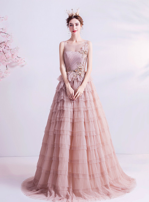 In Stock:Ship in 48 Hours Pink Tulle Tiers Appliques Backless Prom Dress 2020
