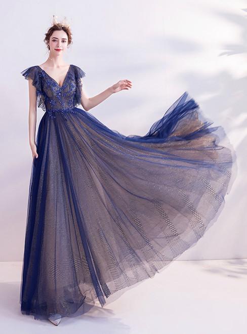 In Stock:Ship in 48 Hours Blue Tulle V-neck Beading Prom Dress 2020