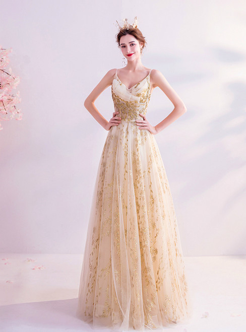 In Stock:Ship in 48 Hours Gold Tulle Sequins Spagehtti Straps Prom Dress 2020