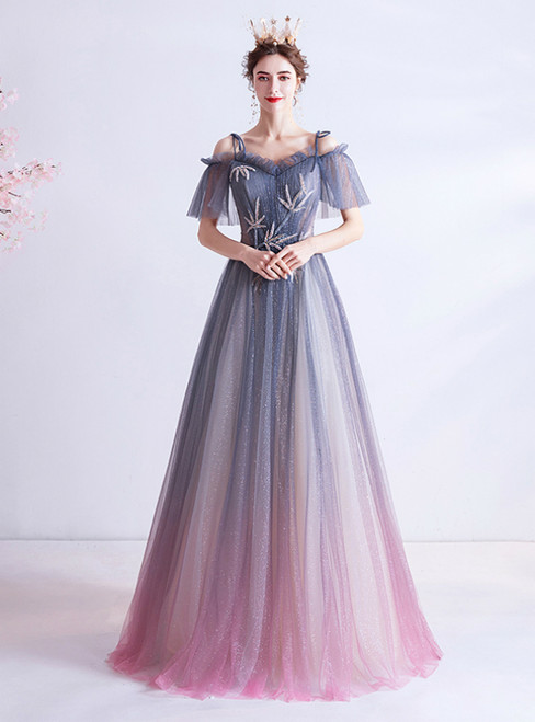 In Stock:Ship in 48 Hours Blue Purple Tulle Spagehtti Straps Prom Dress 2020