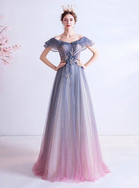 In Stock:Ship in 48 Hours Blue Purple Tulle Off the Shoulder Prom Dress 2020