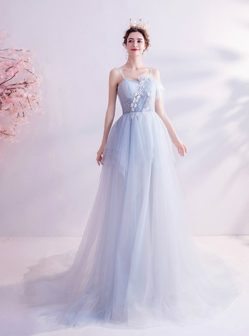 In Stock:Ship in 48 Hours Light Blue Tulle Spaghetti Straps Prom Dress 2020
