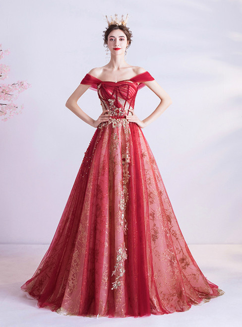 In Stock:Ship in 48 Hours Red Tulle Sequins Off the Shoulder Prom Dress 2020